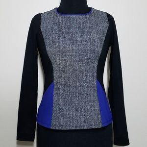 Ann Taylor, Tweed Color Block Long Sleeve Top, SP